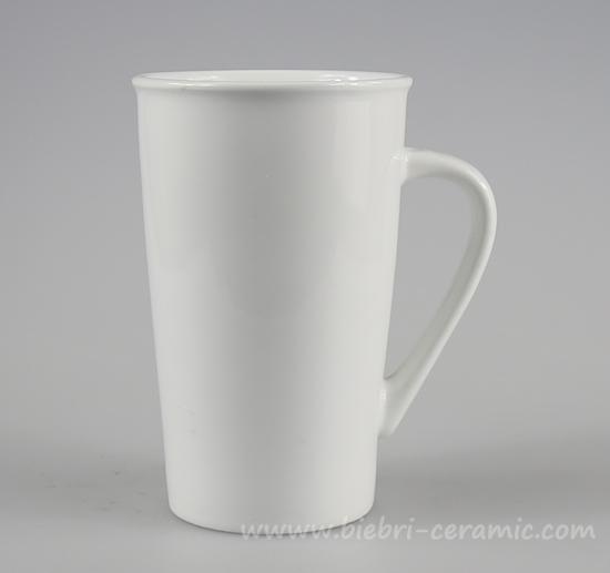 13 Oz Plain White Tall Porcelain Coffee And Tea Mugs Cups With Logo Decal Artwork