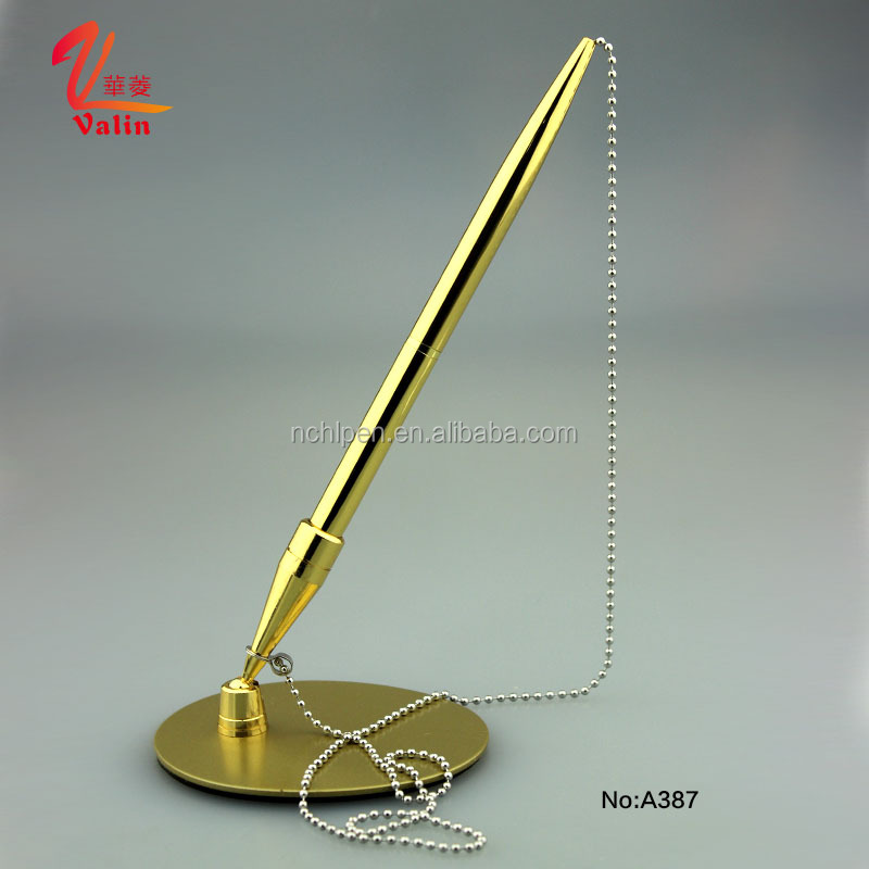 Hot Selling Metal Table Pen Promotional Hotel Desk Pen Cheap Bank Counter Pen