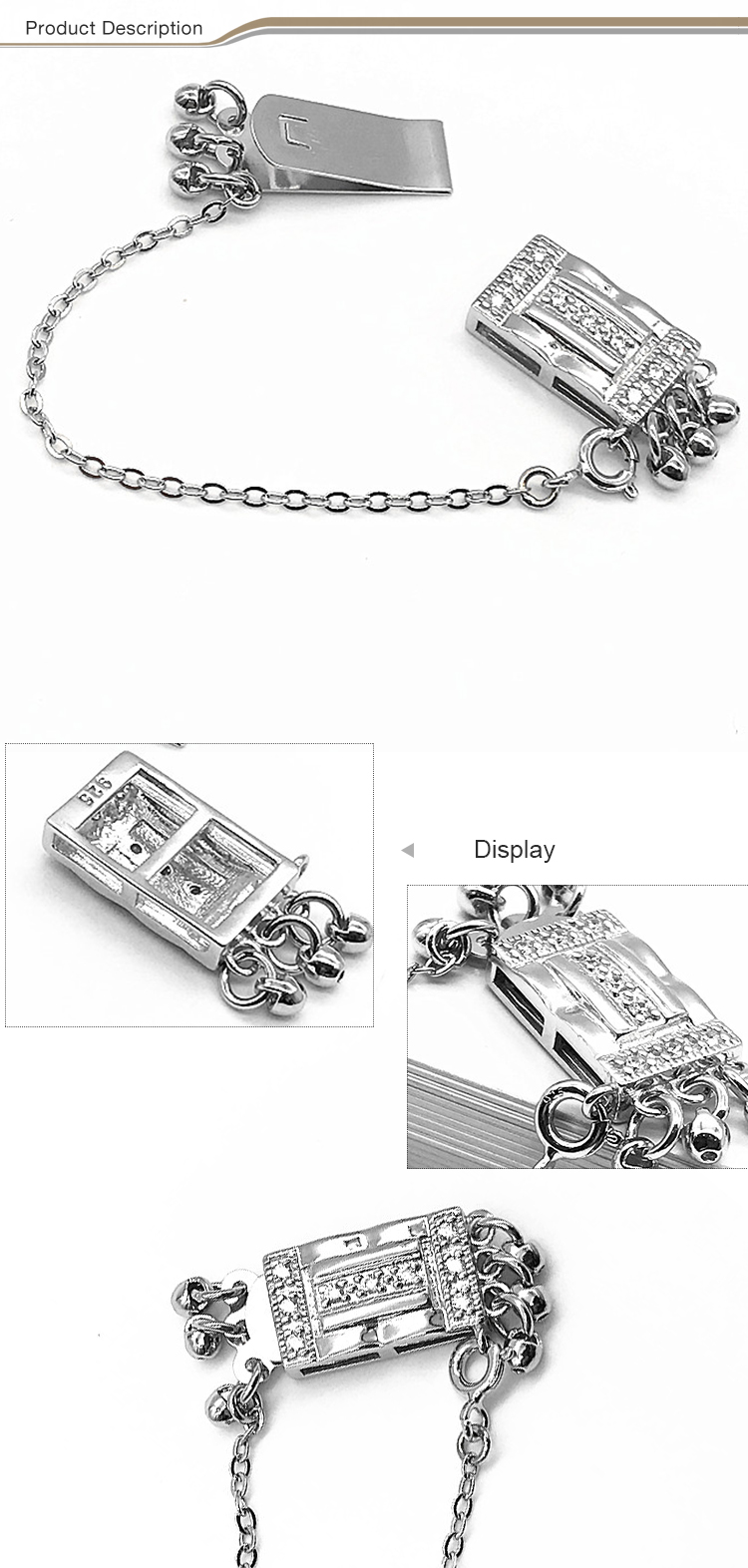 Wholesale custom 925 sterling silver Square Shaped Decorative Jewelry box Clasps for necklace