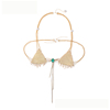 B-118 Sexy women golden top body jewelry summer style triangle bralette