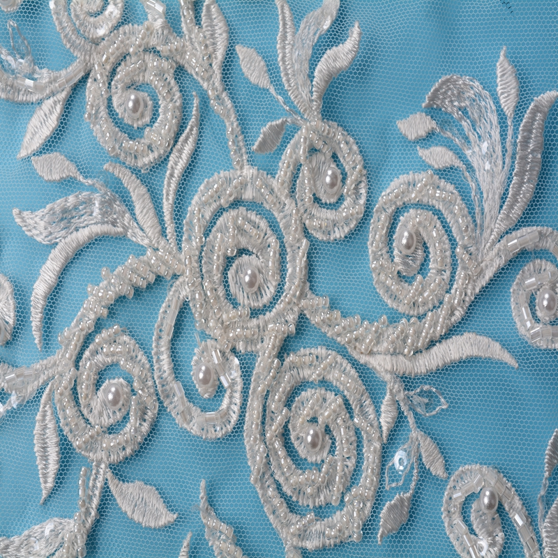 2018 new arrival pear net beaded embroidery lace fabric