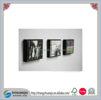 Music Cd Display Wooden Frame 1piece Black Color Home Decor Wall ...