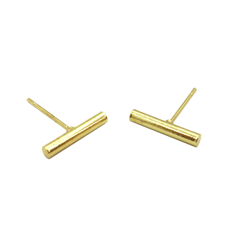 Bar Earrings | Gold Tube Bar Earring | Silver Bar Earring | Gold Stud Earrings | Filament Earrings (Brass-plated-gold)