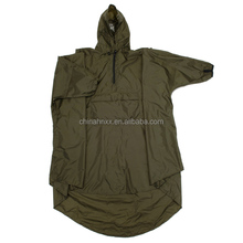 Army green over the head waterproof nylon rain poncho