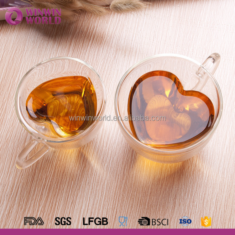 Hot sales heart shape borosilicate glass double wall coffee cup with handle
