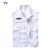 Customized high quality men casual suit white waistcoats with rivet for young boys