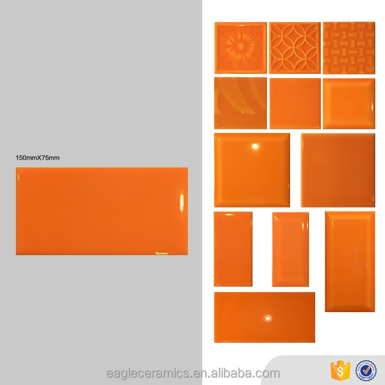 Eagle brand orange 75x150mm brick look wall tiles, art glossy indoor glazed ceramic tile foshan product