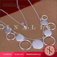 Popular handmade round chain necklace silver plated N015