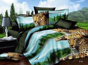 Cheap Animal Pattern Design 3d Reactive Printing Bedding Set Vivid Viewing  3D Bed Sheets Set Wholesale