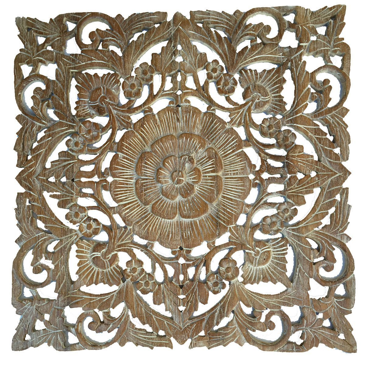 "Large Wood Wall Art- Oriental Carved Wood Wall Decor. Floral Wall Decor. Asian Home Decoration. Rustic Home Decor. Size 24""x24""x0.5"" (Light White Wash)"