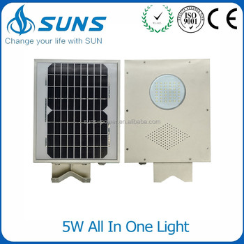 China Manufacturer Intergerated Outdoor Ip65 12v 5w Solar Garden Wall Light