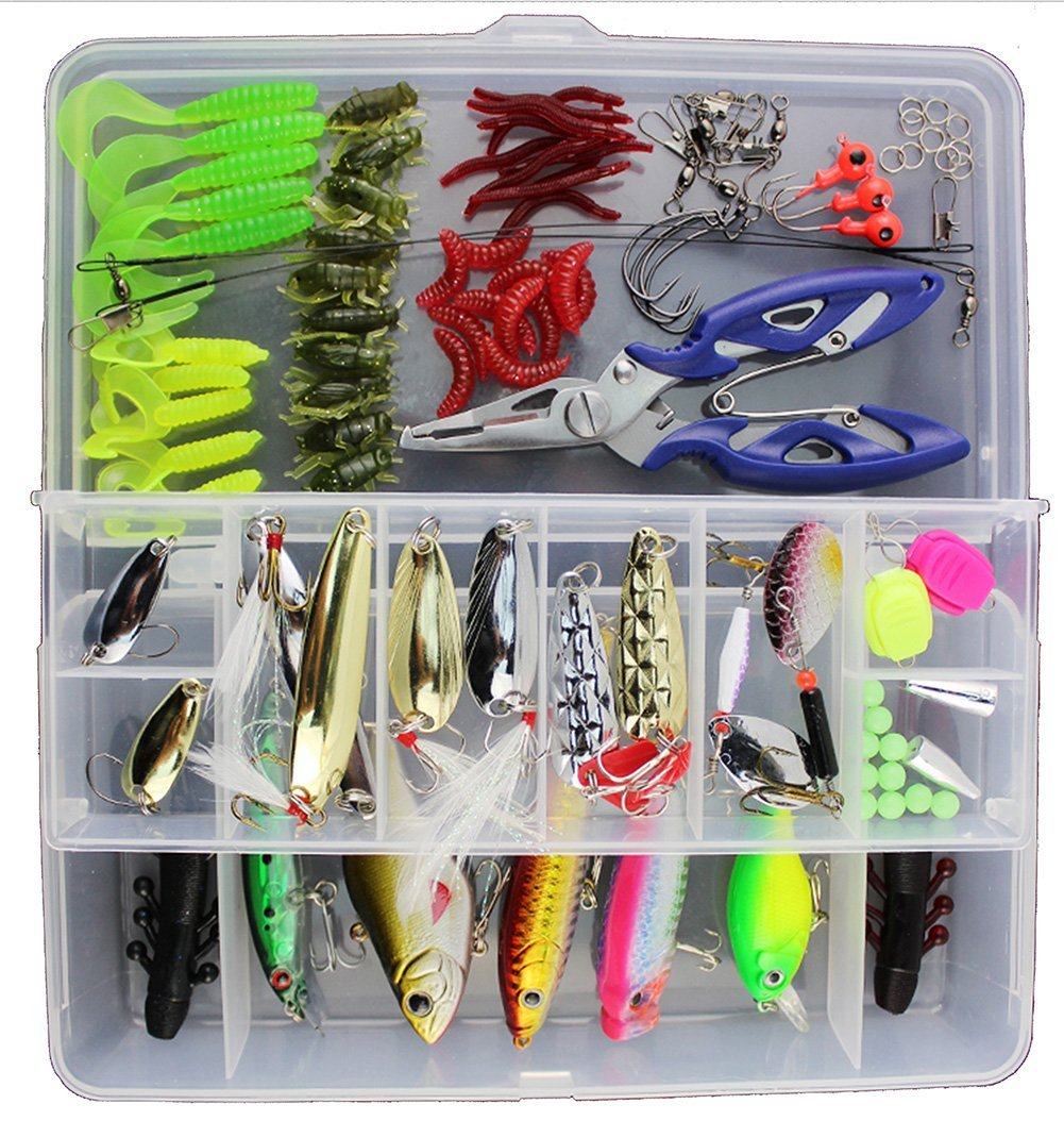 Oak-Pine 101Pcs / Set Fishing Lure Kits Mixed Universal Assorted Fishing Lure Set with Fishing Tackle Box - Including Spinners, Spoons, Treble Hooks, Minnow, Crankbaits, VIB, Leaders, Line Stoppers