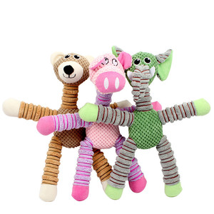 Cartoon Plush Dog Toy Animal Shaped Sound Squeaker Chewing Toys Pet Products