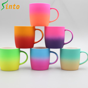 Food safe ceramic porcelain 13OZ various two tone colorful soft touch rubber coated mug
