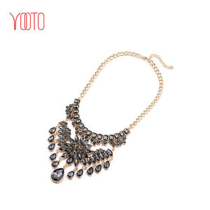 Long gold black statement necklace jewelry uk for wedding