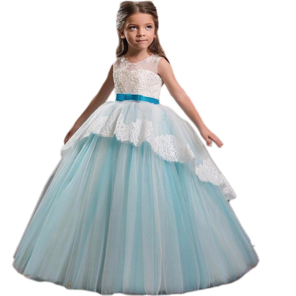 965be95120 Elegante tul encaje Primera Comunión vestido bowknot grande de manga larga  vestido de desfile vestido de