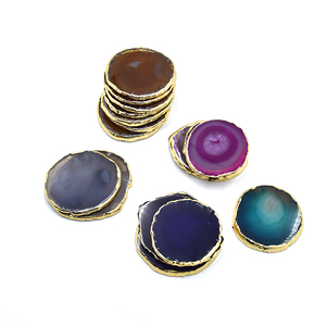 Natural muti colour polished crystal agate slices different sizes stone agate coaster with golden rim