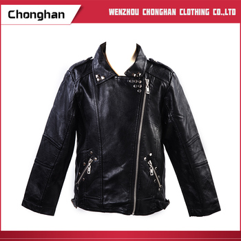Chonghan Custom Made 2019 Kids Spring Leather Jackets For Girls