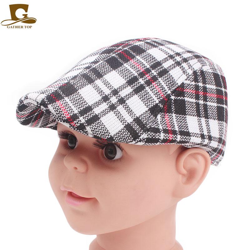 44dde849e82d04 Blm-21 Kids Baby Cotton Flat Cap Cabbie Hat Plaid Newsboy Beret Hat ...