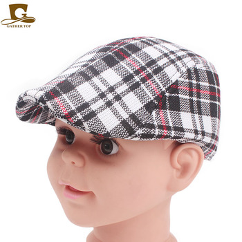 Blm-21 Kids Baby Cotton Flat Cap Cabbie Hat Plaid Newsboy Beret Hat ... 357f3dd29ed