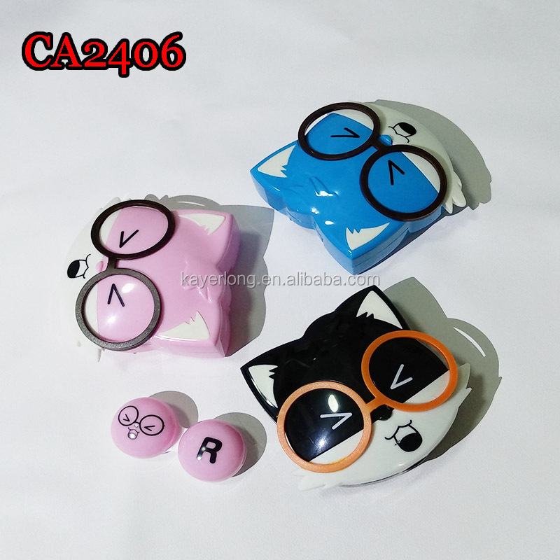 CA2406 reccoon cat with fancy glass deco colorful square contact lens case