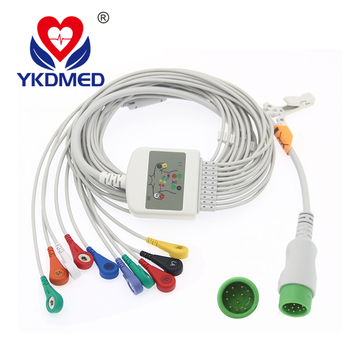 One-Piece Series Patient ECG EKG Cable LeadWires With Resistance Din 3.0