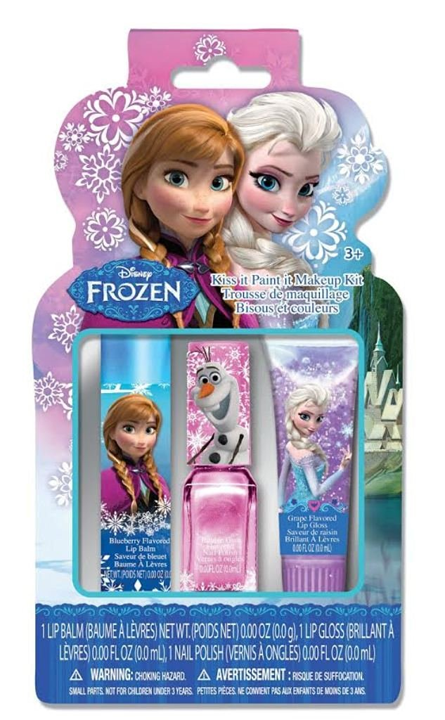 Disney Frozen 3 Piece Best Fashion Makeup Set for Girls - Lip Gloss & Balm and Nail Polish Deluxe Kit - Satisfaction Guaranteed