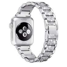 Для Apple Watch band 40 мм 44 мм 38 мм 42 мм Женский алмазный обруч для Apple Watch series 5 4 3 2 браслет для iwatch ремешок из нержавеющей стали(Китай)