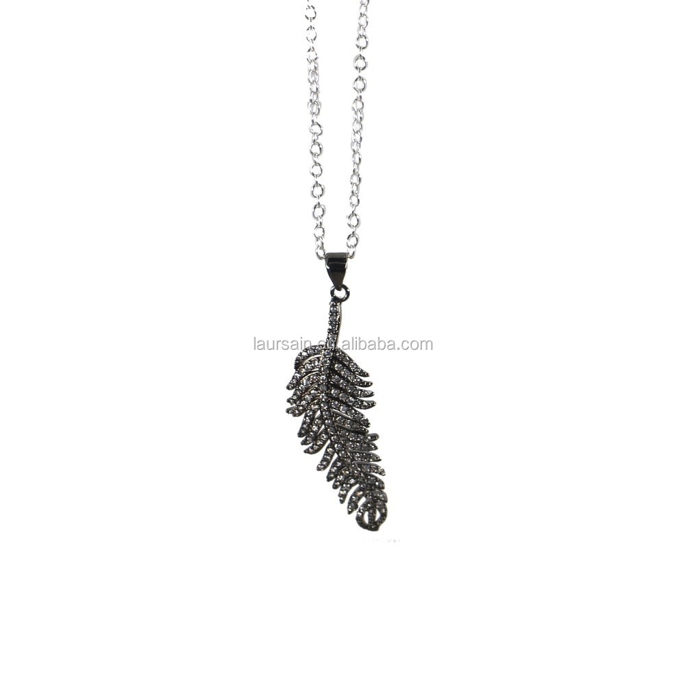 LS-D2223 Hot!! NEW Amazing CZ Pave leaf necklace