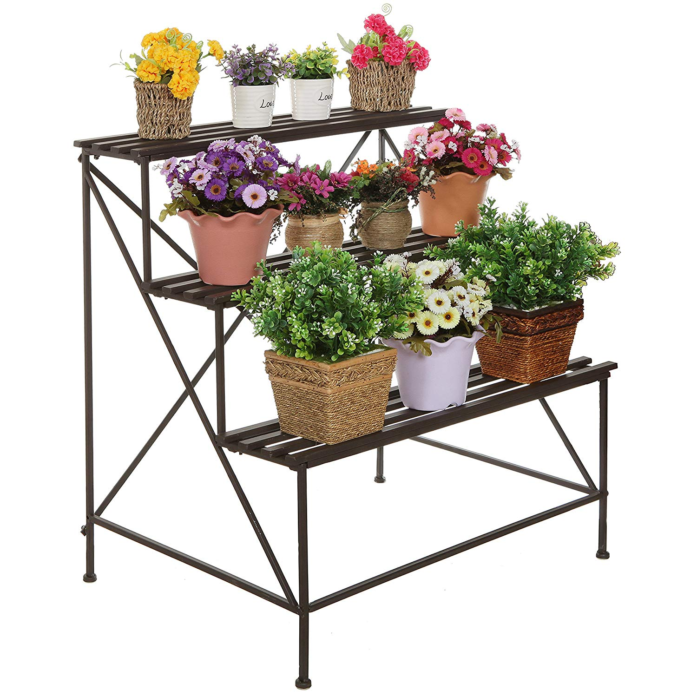 MyGift Freestanding Decorative Rustic Style 3 Tier Brown Metal Planter Stand Plant Shelf Flower Pot Rack