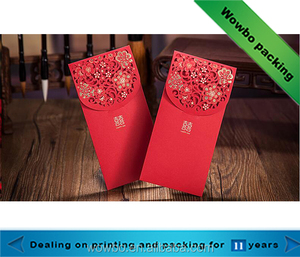 chinese hot stamping red envelope red packet for new year with laser cut