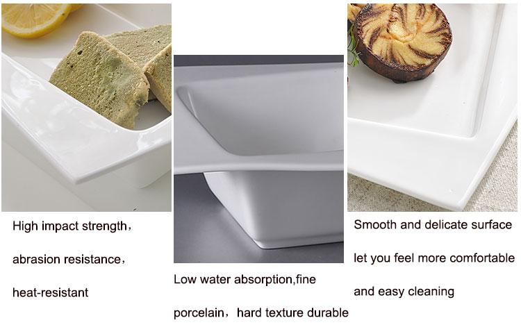 England Style White Ceramic Flat Plate Elegance Fine Porcelain Dinner Set