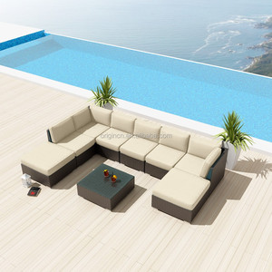 Outdoor patio U shape sectional synthetic rattan wicker sofa 9 pc courtyard furniture