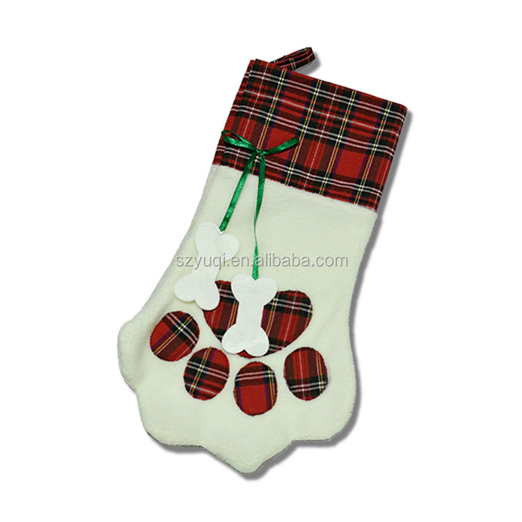 Green and Red Christmas Stockings for Dog Cat Pet Paw Personalized Xmas Stocking for Family Holiday Home Decorations