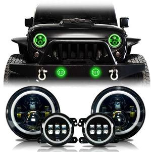 New Bluetooth Control RGB Angel eyes 7 inch led headlight Halo Rings 4 inch Led Fog Light Combo Set for jeep