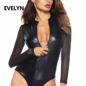 Women's Faux Black Leather Cat Bodysuit Sexy Women's Halloween Costume Sexy PVC Leather