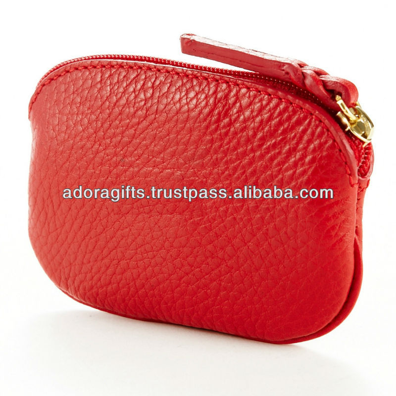 Solid Color Leather Single Zippers Horizontal Coin Purse With Key Ring Simple Design Unisex Wallets Money Holder Case
