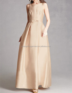 high fashion inverted pleating throughout belted detail Satin Bow-Front Gown