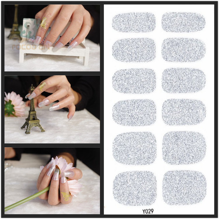 Y029 Bling Auto Adhesive Shimmering 3d Pure Silver Nail Art Polish Christmas Nails Stickers Wholesale