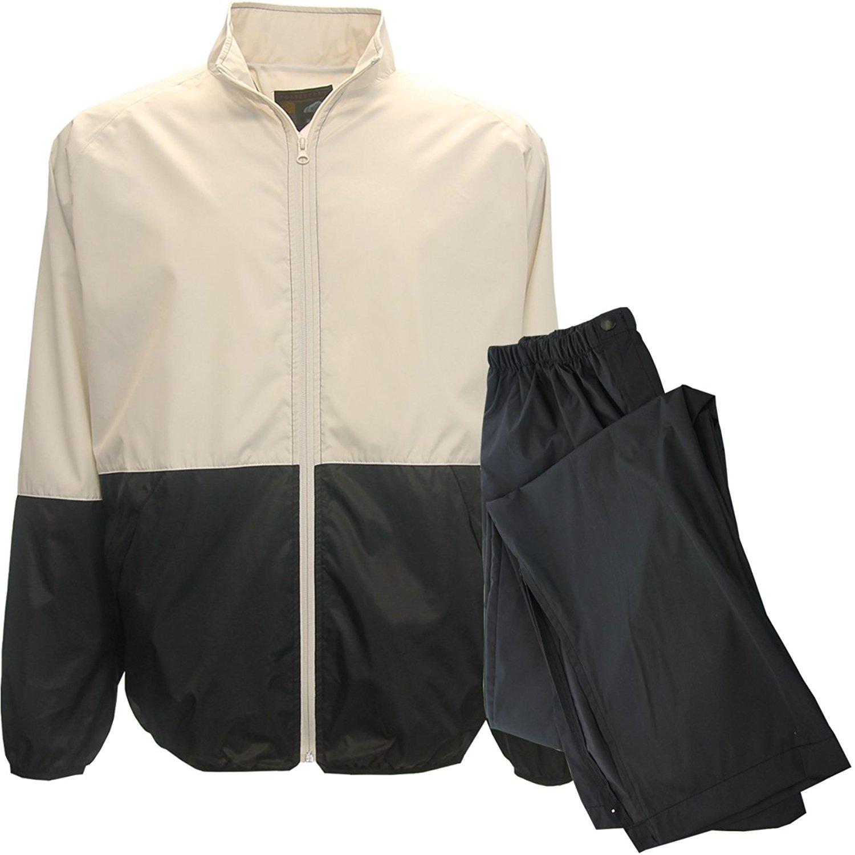 Forrester Packable Waterproof Golf Rain Suit,X-Large Stone/Blk Jacket/Black Pant