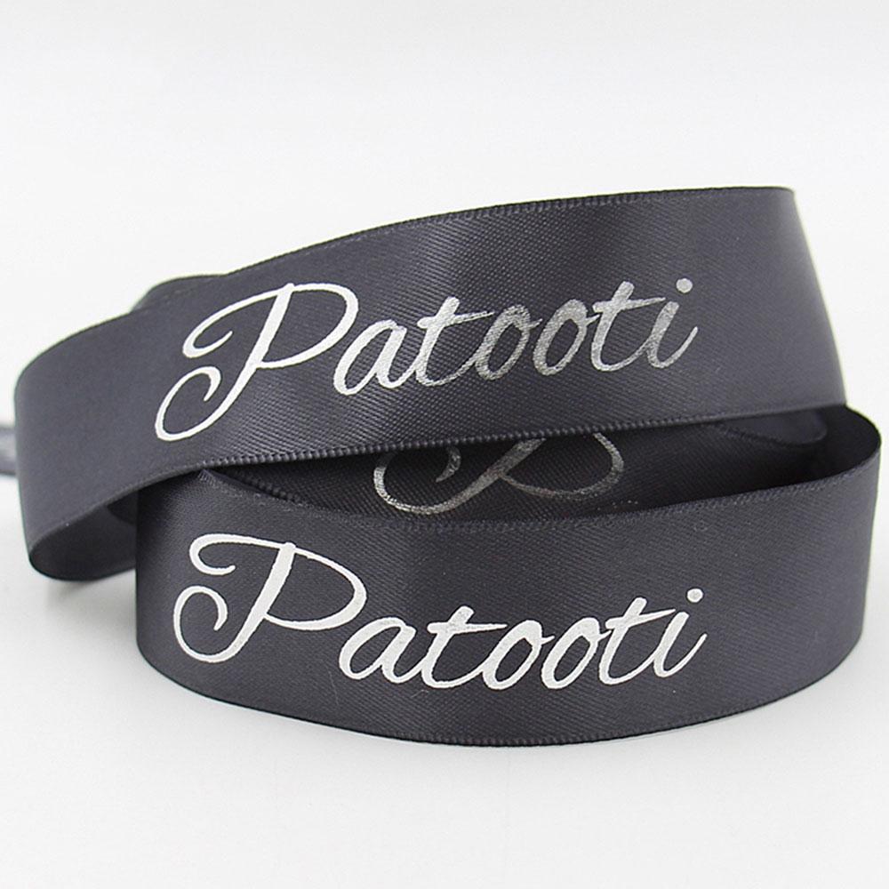 customized colorful logo printing emboss foil printed black satin ribbon