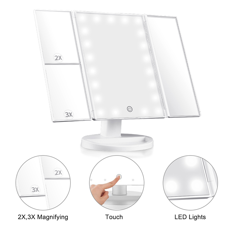 Makeup Mirror with Lights Lighted with 3x/2x Magnification Trifold 21 Lights Touch Screen Countertop Led Make Up Mirror