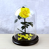 Golden Yellow preserved rose in glass dome
