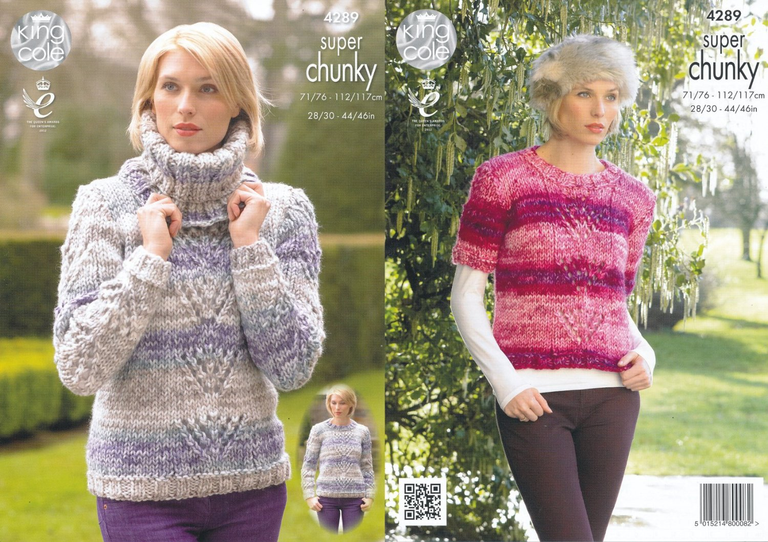 820ece7e9dc7bf King Cole Ladies Big Value Super Chunky Tints Knitting Pattern Lace Effect  Sweaters   Cowl (4289)