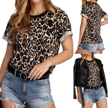 Women Leopard Printed T-shirt Female Sexy Letter Embroidery Casual chiffon Tees Tops Women Fashion O-neck T-shirt Short Sleeve