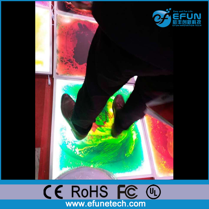 battery rechargeable high glossy led rgb color liquid luminous flooring