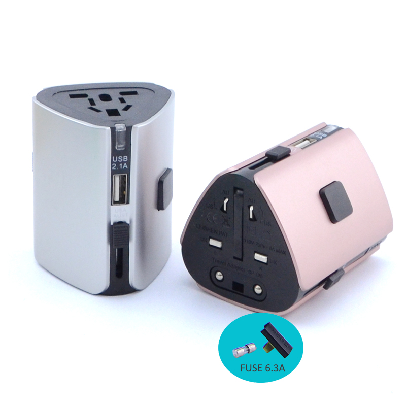 Universal World Travel Adapter with 2.4A Dual USB Ports for UK, US, AU, Europe& Asia-Over 150+ International Countries