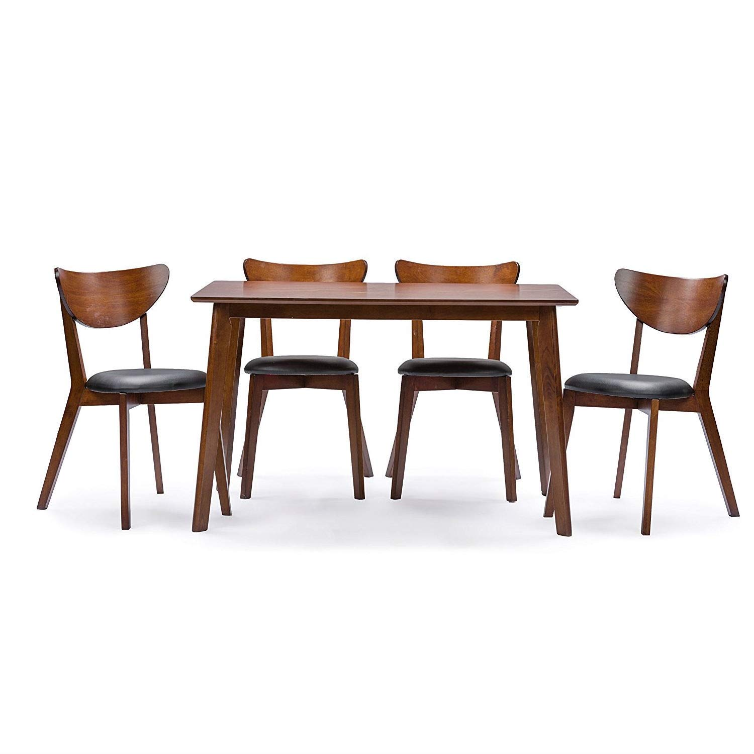 BeUniqueToday Modern Mid-Century Style 5-Piece Dining Set in Dark Brown Walnut Finish, Showcasing Mid-Century Style Designs this Five-Piece Set Features Four Chairs and A Sturdy Table for Years of Use
