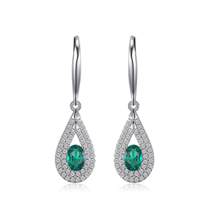 1.23ct Nano Russian Simulated Emerald Dangle Earrings 926 Sterling Silver luxury Jewelry From JewelryPalace