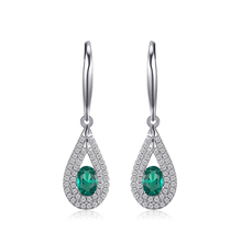 JewelryPalace luxury 1.23ct Nano Russian Simulated Emerald Dangle Earrings 926 Sterling Silver